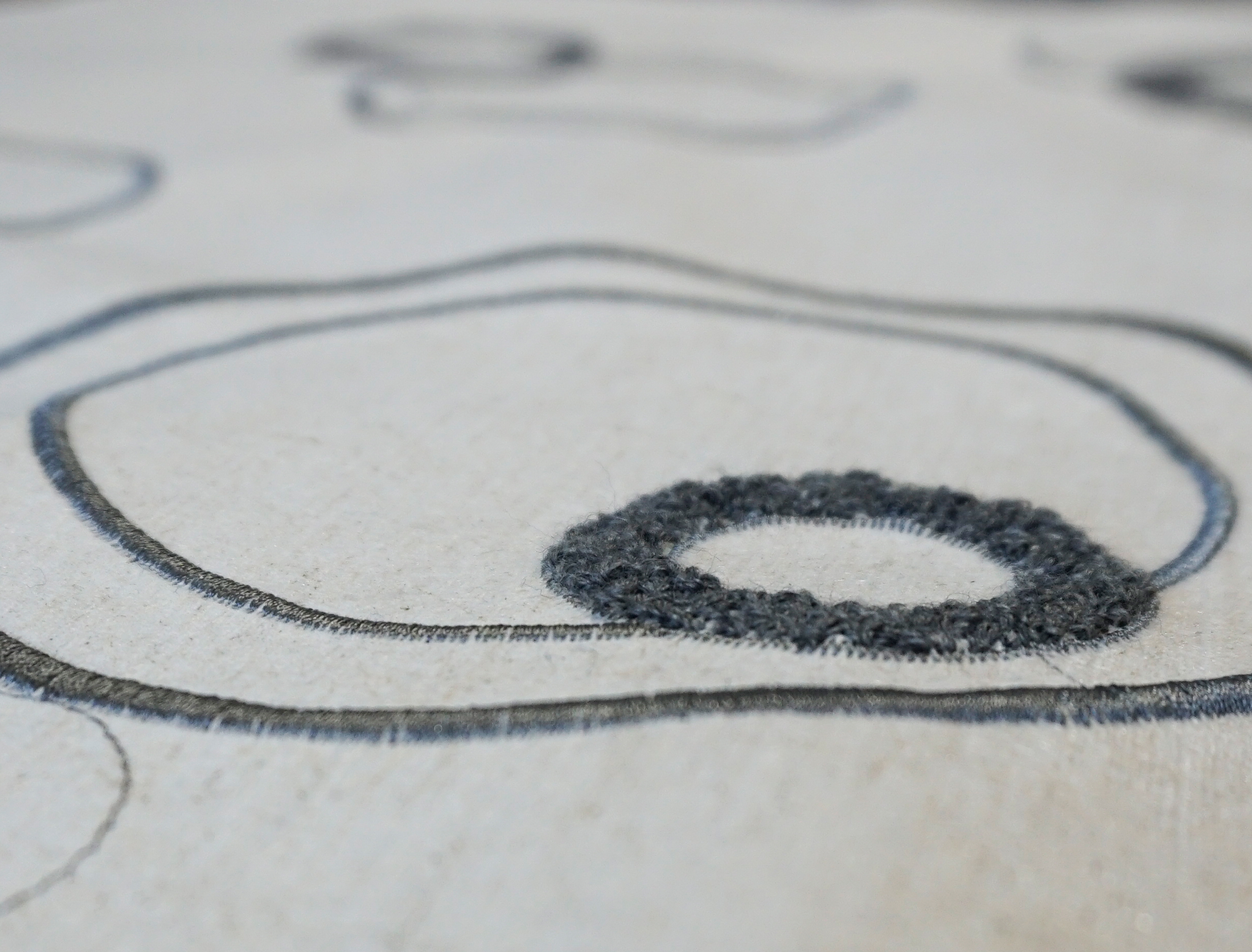 """Flax Wallpaper embroidered """"circles"""", anthracite"""
