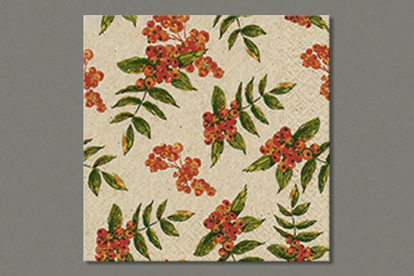 "Lunch Napkins ""Rowan berry pattern"" 33x33 cm, 25 pieces"