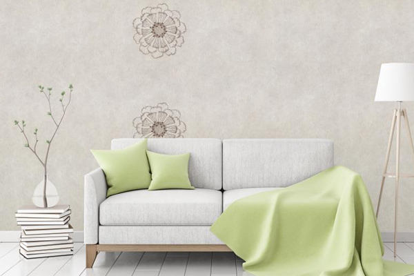 """Flax Wallpaper embroidered """"flower"""" - 2 colors"""