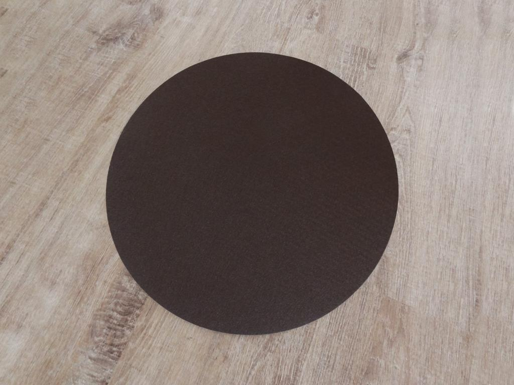 Placemats round in a set of 8 with matching round glass coasters, mocca