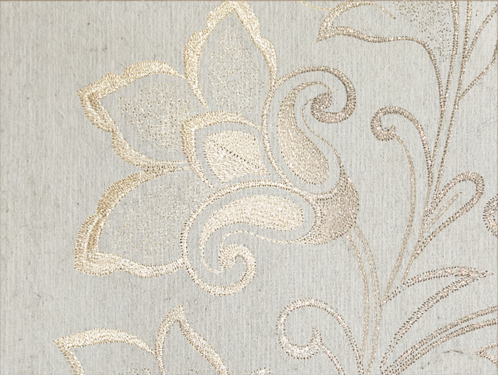 """Flax Wallpaper embroidered """"flower vine"""" - 2 colors"""