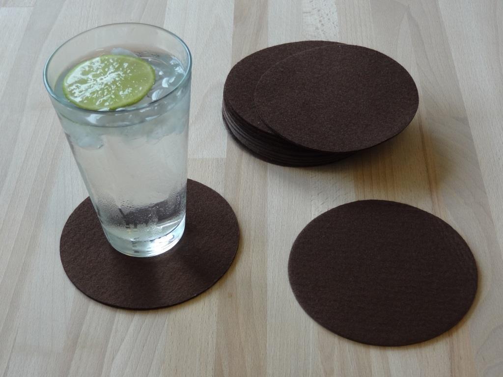 Nonwoven Coaster, set of 12, diameter = 11.2 cm, mocca