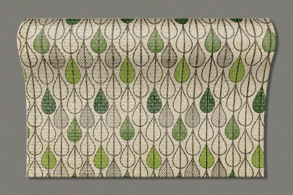 "Flax Table Runner ""Leaf drops"" 300x16.5 cm"