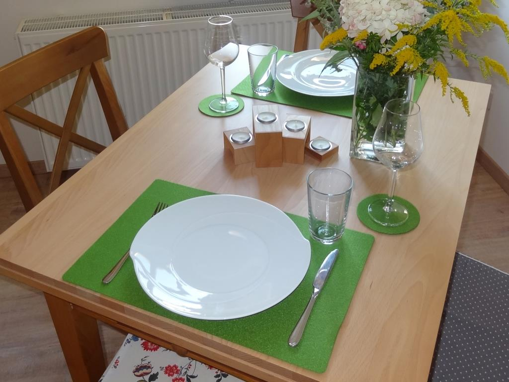 Placemats 30x45 cm in a set of 4 without round glass coasters, green