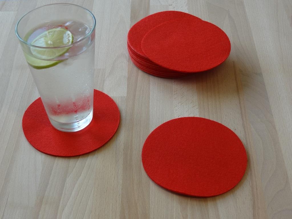 Nonwoven Coaster, set of 6 or 12, diameter = 11.2 cm, red