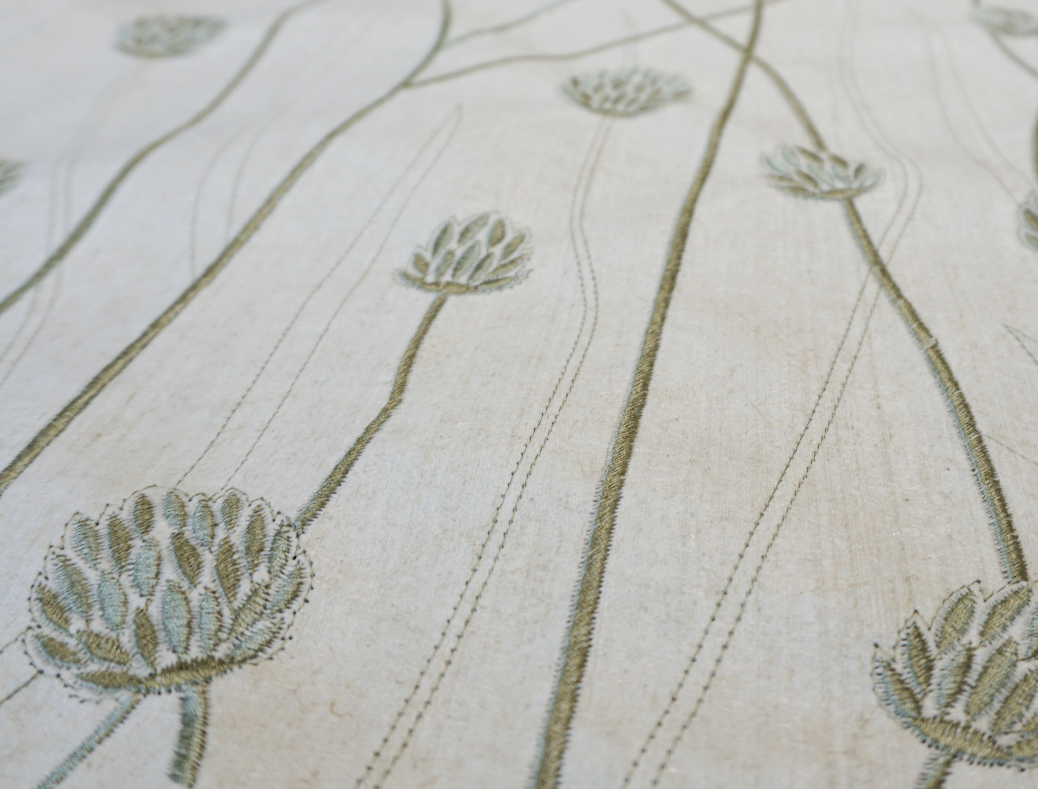 "Flax Wallpaper embroidered ""gras short"" , green"