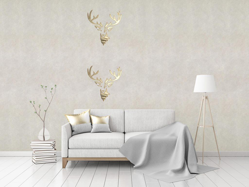 "Flax Wallpaper embroidered ""stag"""