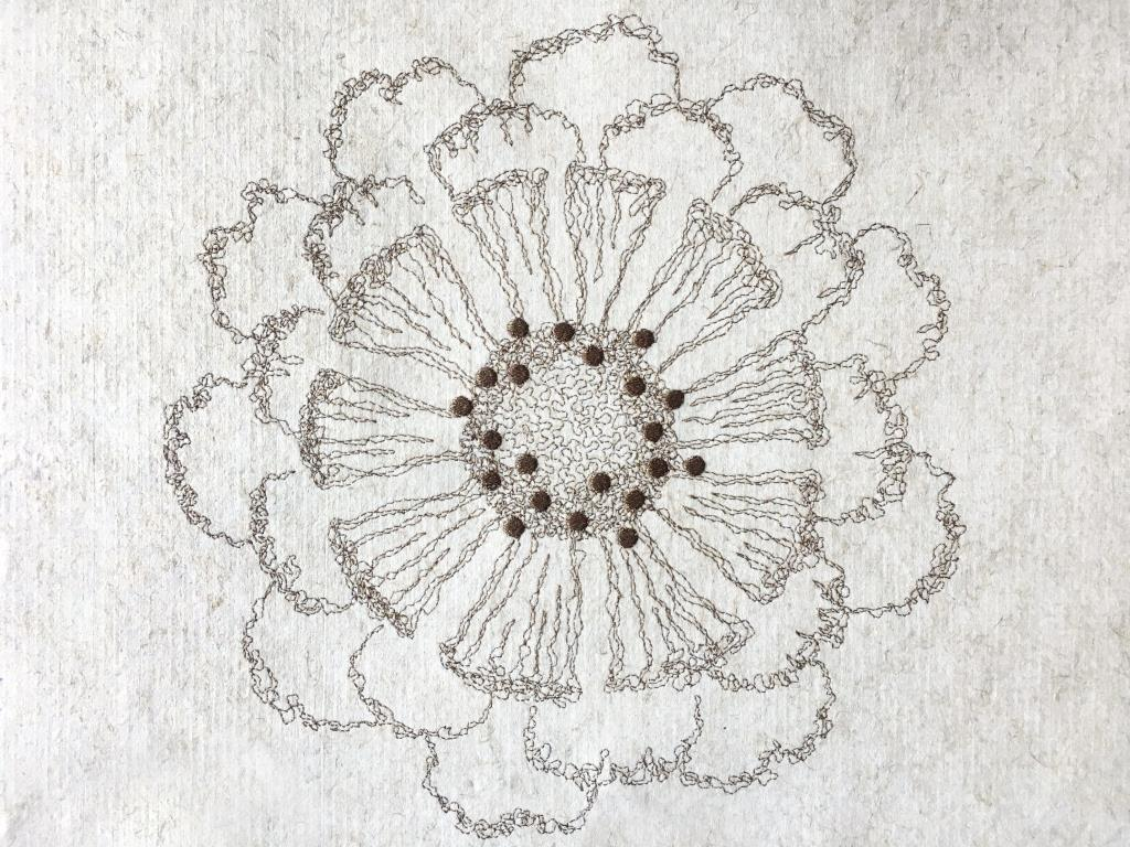 "Flax Wallpaper embroidered ""flower"""