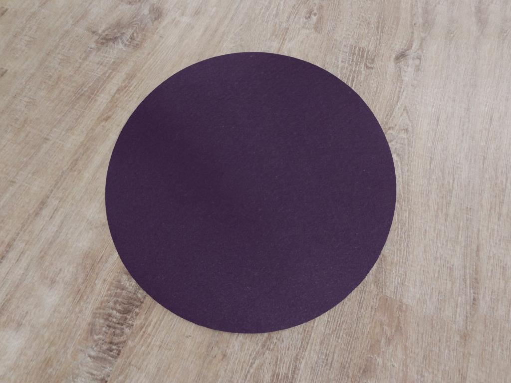 Placemats round in a set of 8 without round glass coasters, purple