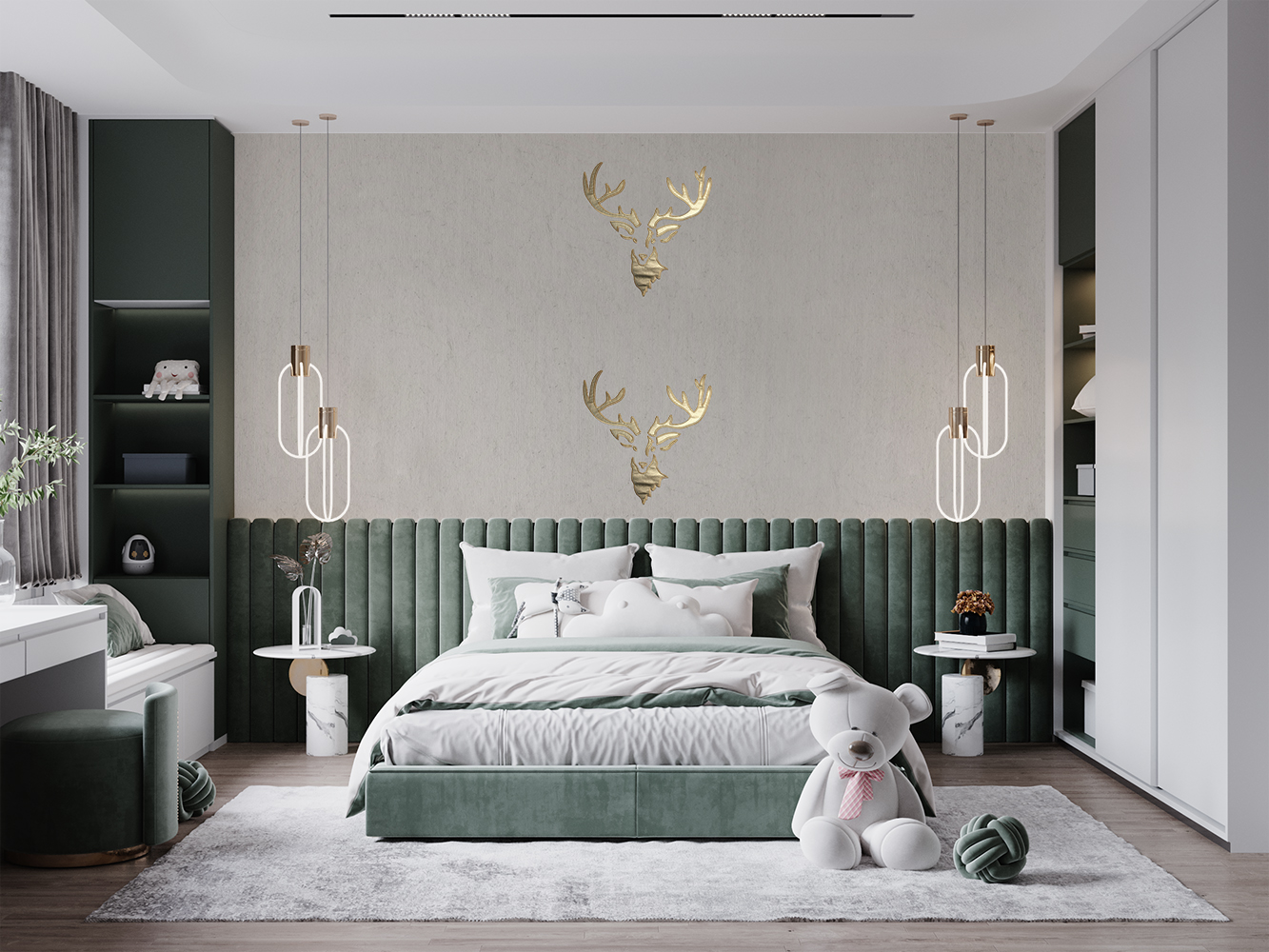 """Flax Wallpaper embroidered """"stag"""""""