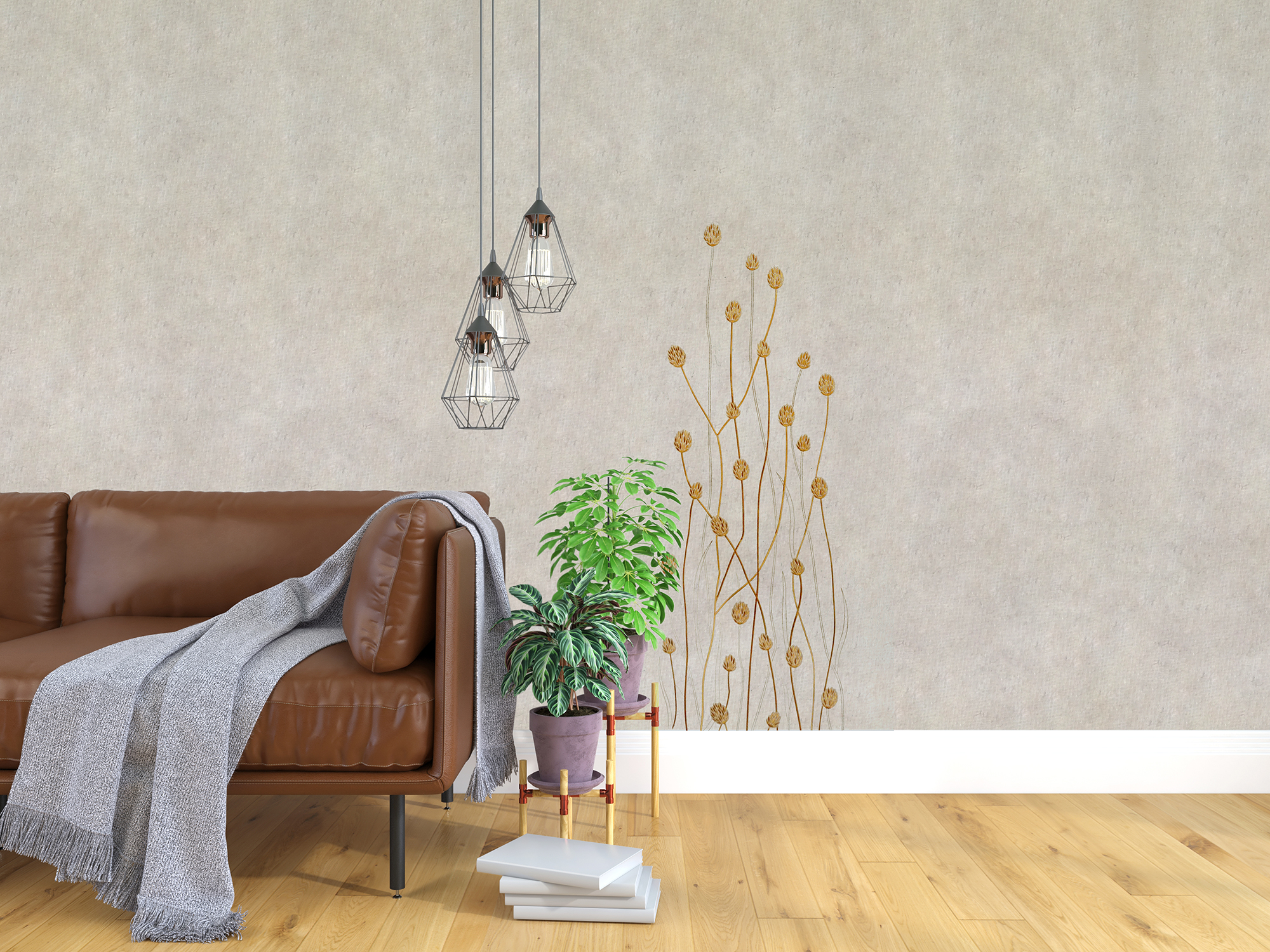 """Flax Wallpaper embroidered """"gras long"""", orange"""