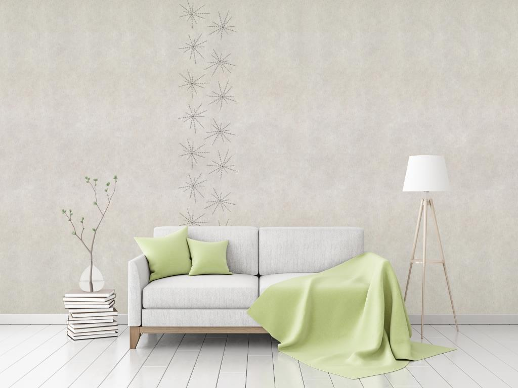 """Flax Wallpaper embroidered """"ray"""", gold/anthracite"""