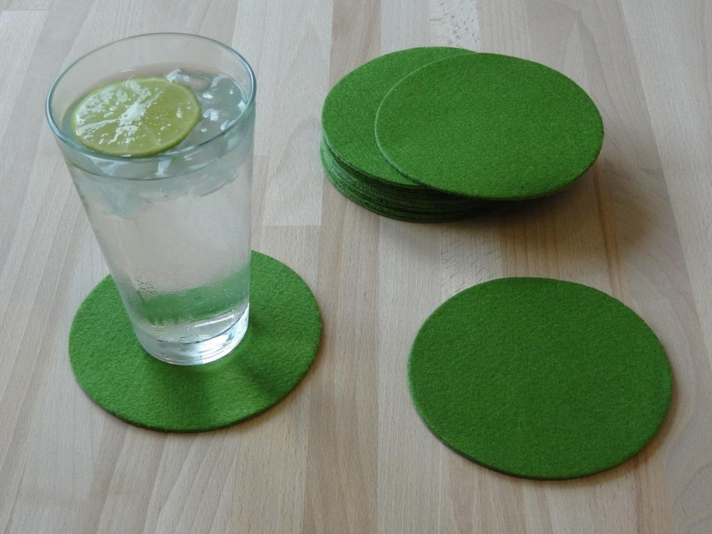 Glasuntersetzer Vlies 12er Set, D=11,2cm, Grün