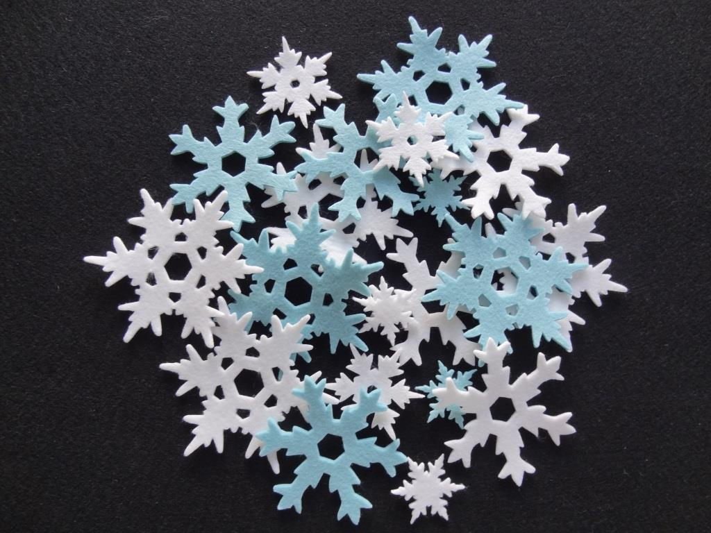 Die-Cuts Snowflakes mix white/ice blue - 20 pieces
