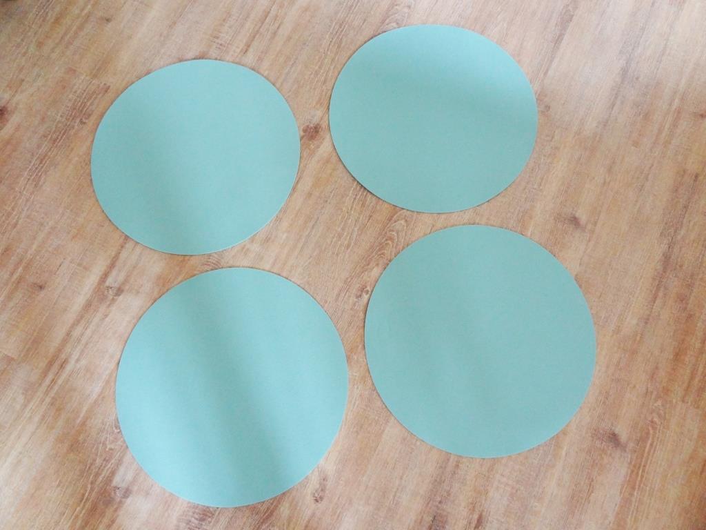 Platzset rund im 4er Set ohne Glasuntersetzer, Eisblau