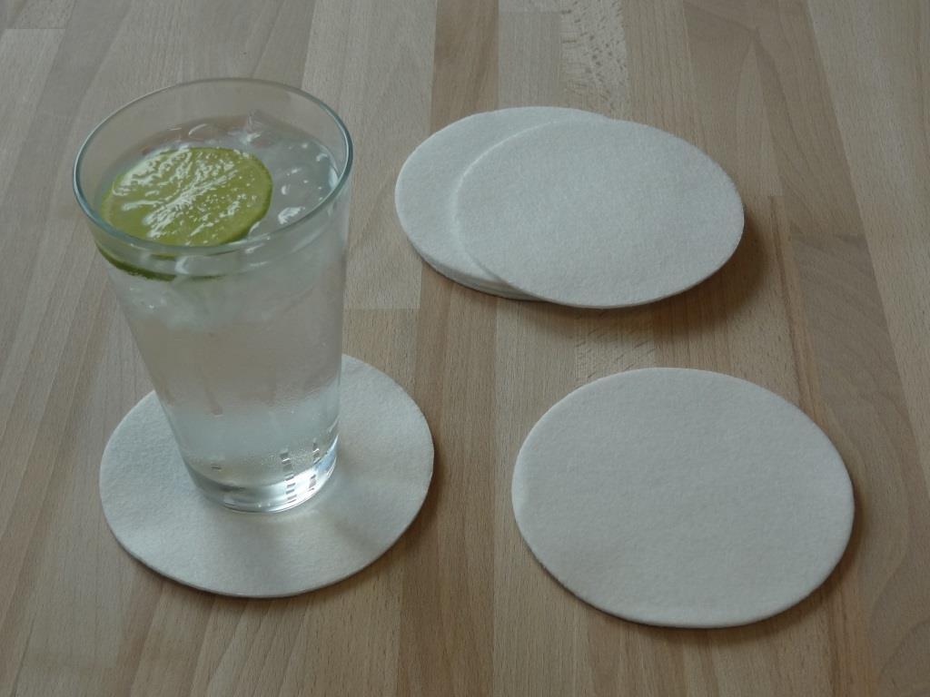 Glasuntersetzer Vlies 6er Set, D=11,2 cm, Weiß