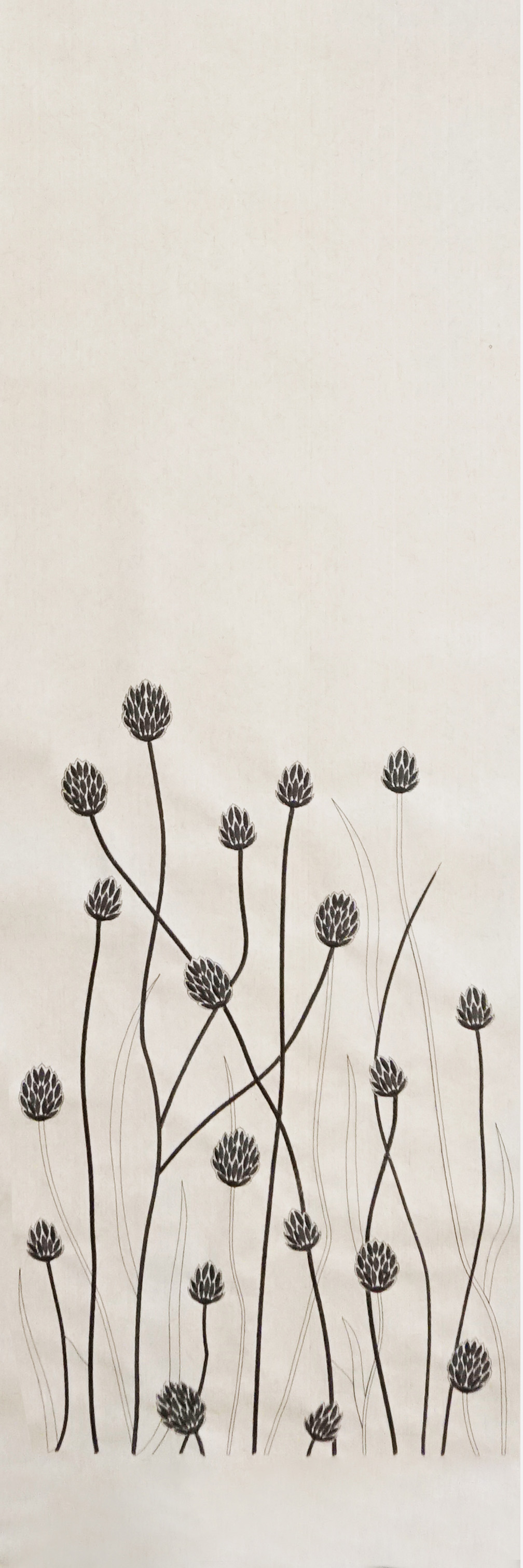 """Flax Wallpaper embroidered """"gras short"""", anthracite"""