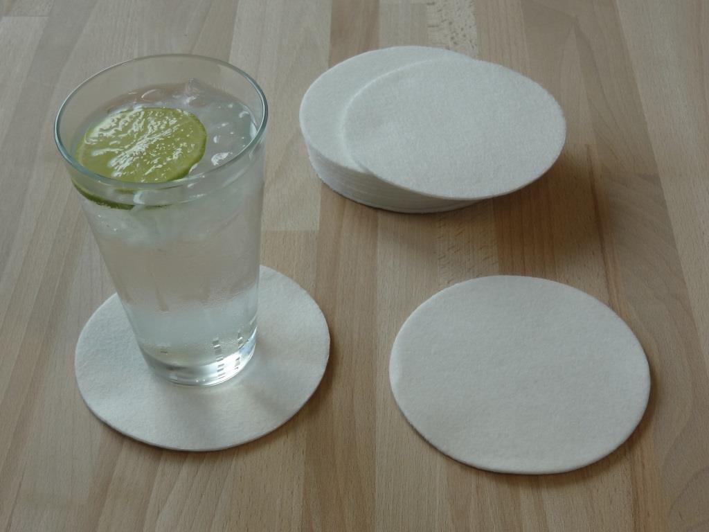 Glasuntersetzer Vlies 6er oder 12er Set, D=11,2 cm, verschiedene Farben