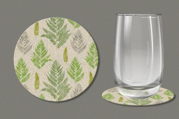 "Flax Coaster ""Farn pattern"", set of 12, diameter=10 cm"