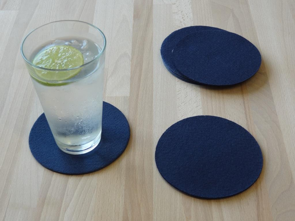 Placemats square 38x38 cm in a set of 8 with matching round glass coasters, royal blue