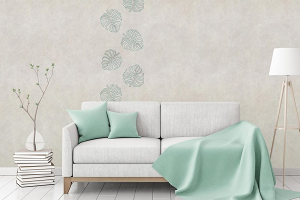 """Flax Wallpaper embroidered """"leaves"""""""