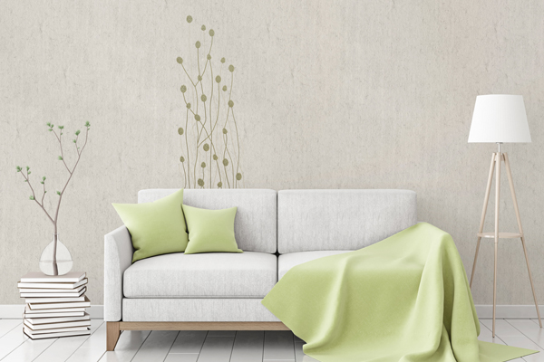 """Flax Wallpaper embroidered """"gras long"""" - various colors"""