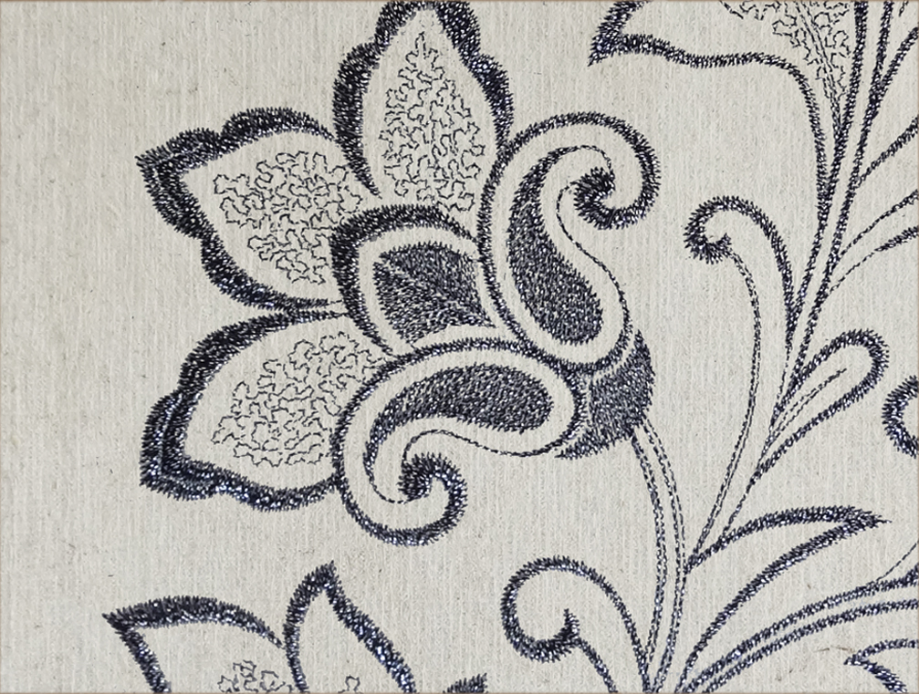 "Flax Wallpaper embroidered ""flower vine"", black/silver"