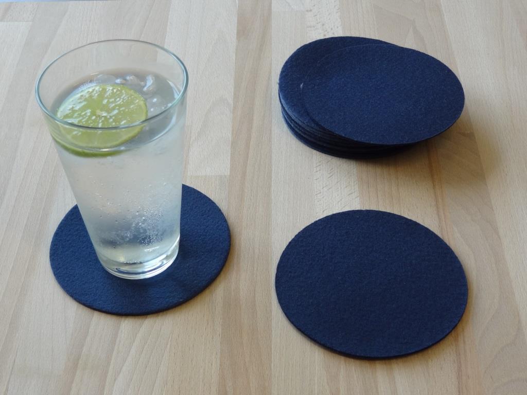 Glasuntersetzer Vlies 12er Set, D=11,2 cm, Royalblau