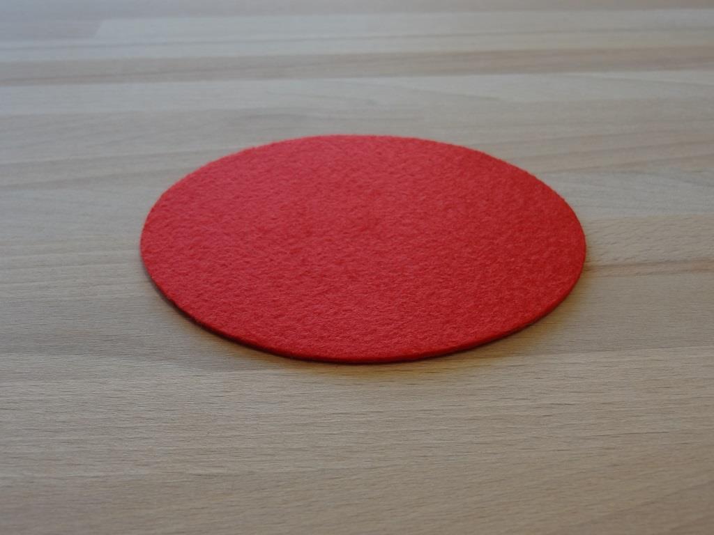 Nonwoven Coaster, set of 6, diameter = 11.2 cm, red