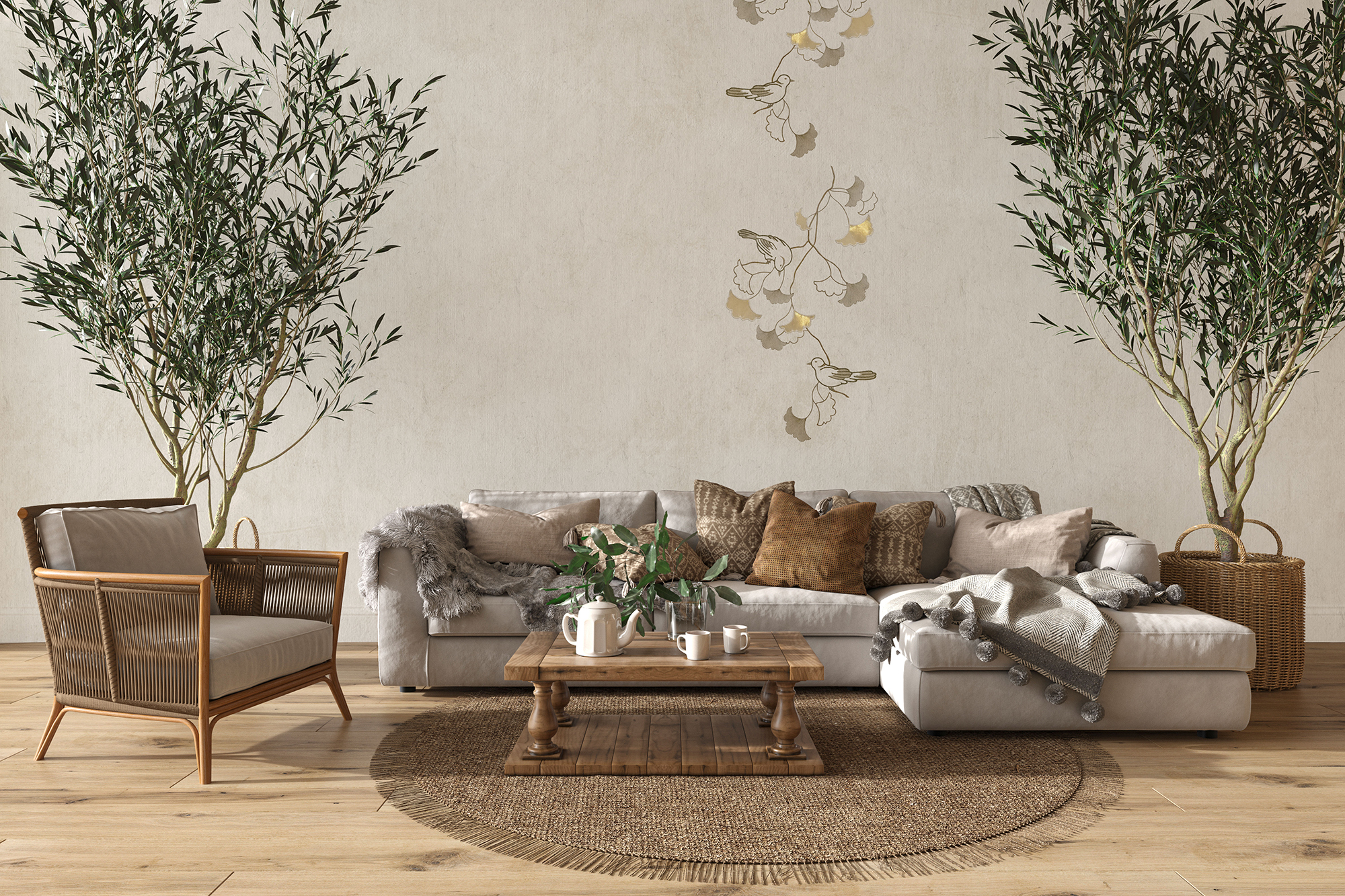 """Flax Wallpaper embroidered """"bird"""" – available since 15.01.2020"""
