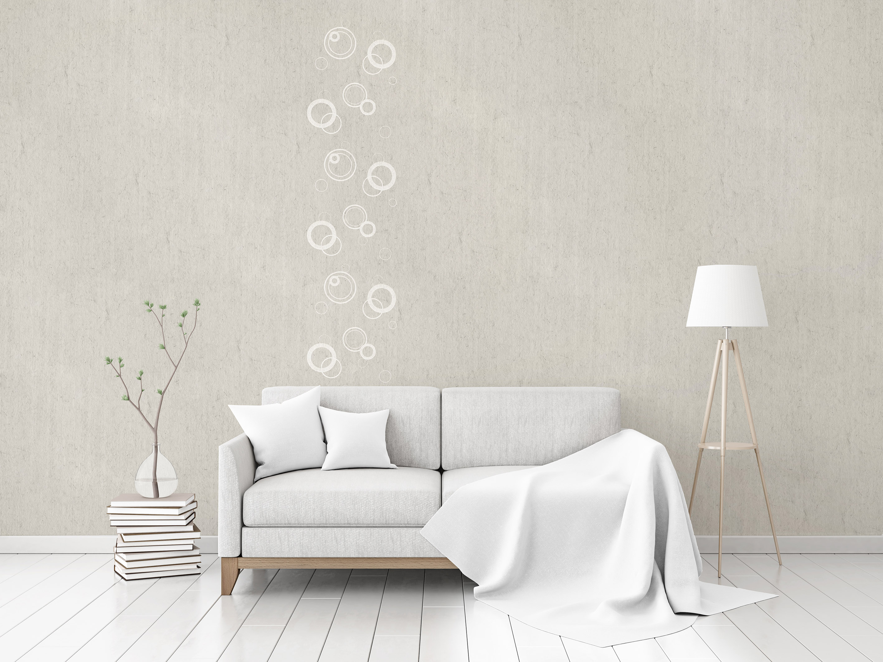 "Flax Wallpaper embroidered ""circles"" – available since 15.01.2020"