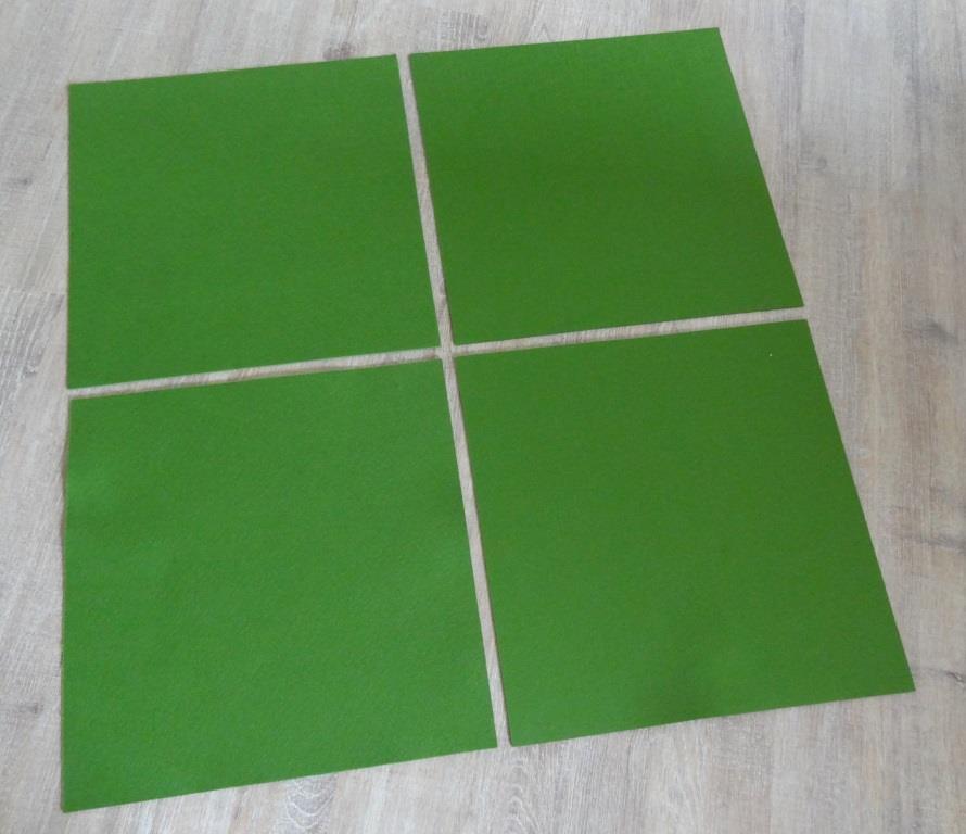 Platzset quadratisch 38x38 cm im 4er Set mit Glasuntersetzer, Grün
