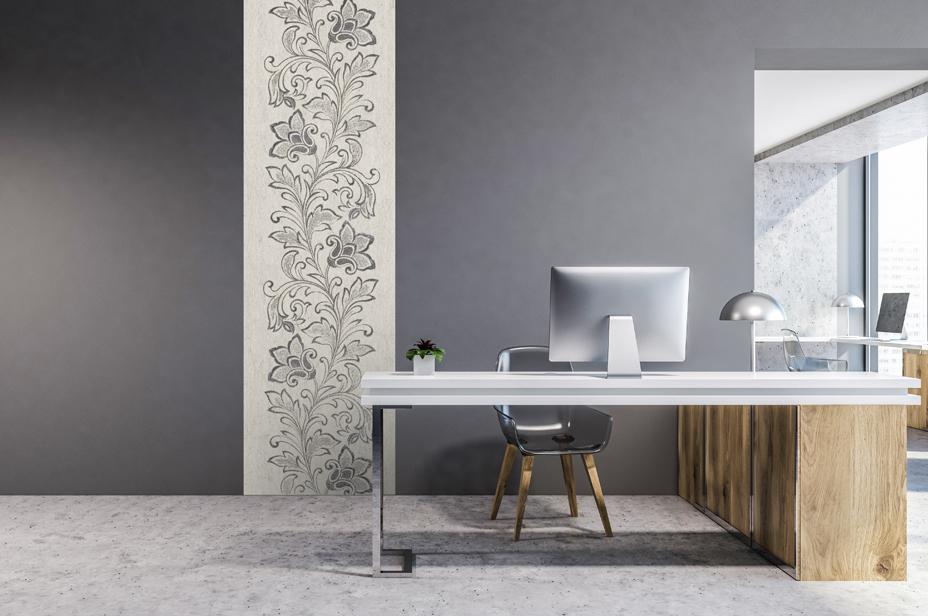 "Flax Wallpaper embroidered ""flower vine"", black/silver"