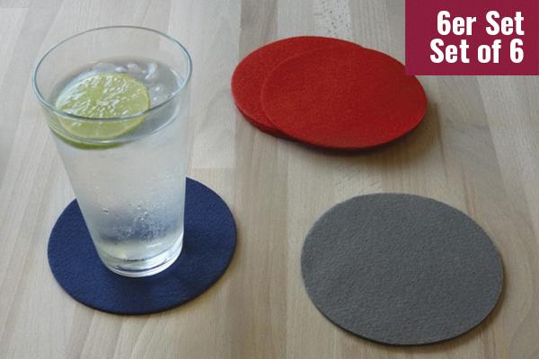 Nonwoven Coaster, set of 6, diameter = 11.2 cm, various colors